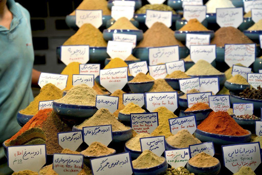 Especias en bazar de Shiraz. Irán