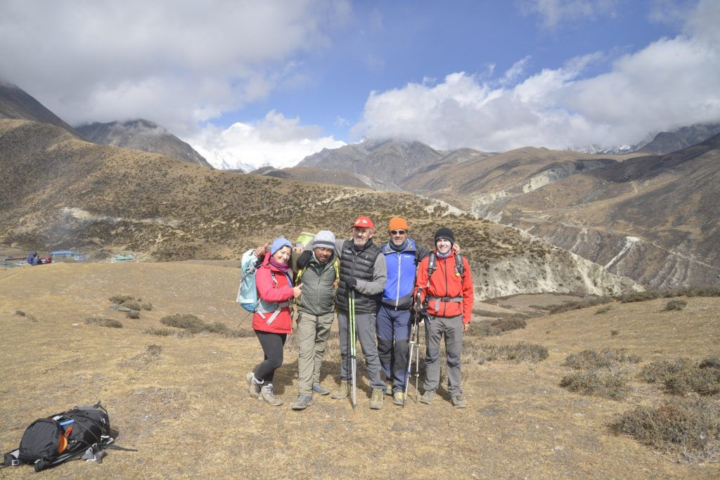 Llegada a Machhermo con el Cho Oyu al fondo. Nepal